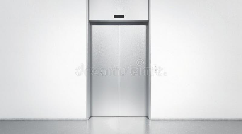 L'argent vide a fermé l'ascenseur dans la moquerie d'intérieur de plancher de bureau, photo libre de droits