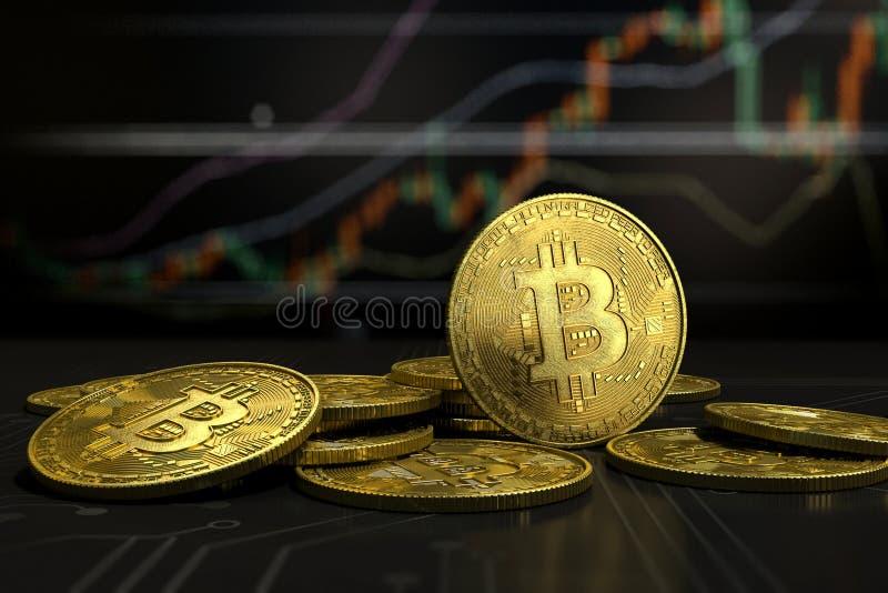 L'argent virtuel de Bitcoin d'or sur le diagramme a brouillé le fond image libre de droits