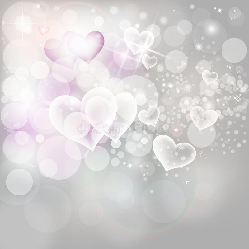 L'argento del fondo di festa del giorno di biglietti di S. Valentino accende illustrazione vettoriale