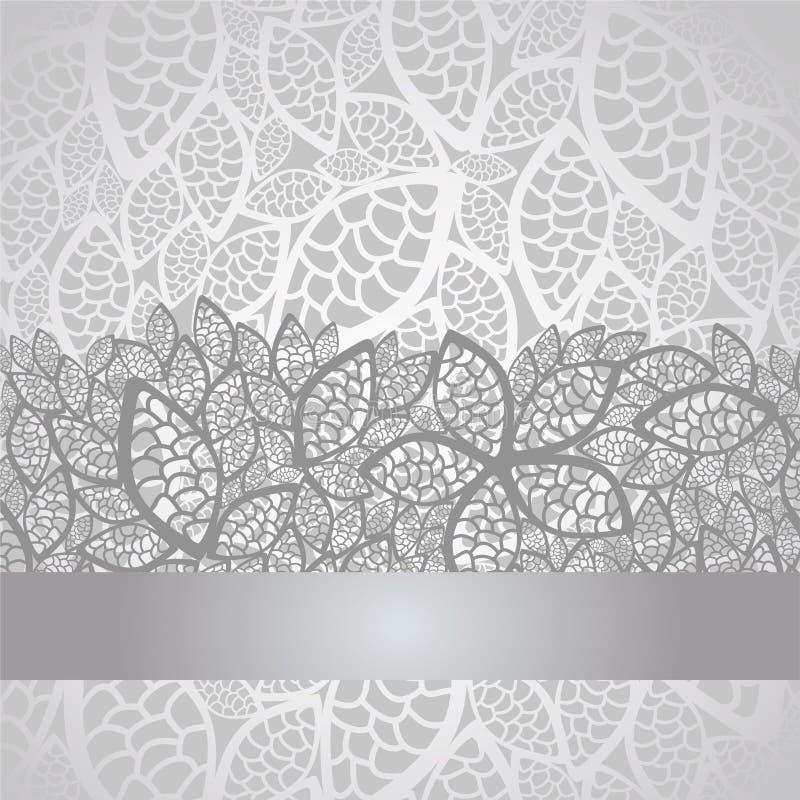 L'argento di lusso lascia il bordo e la priorità bassa del merletto illustrazione vettoriale