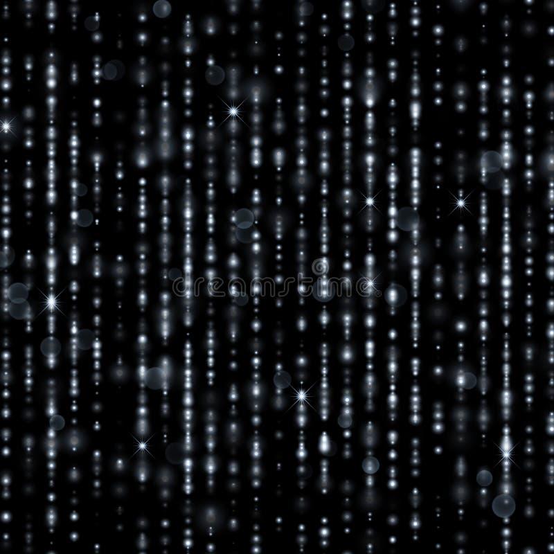 L'argento infila con le particelle scintillanti, gocce di pioggia di scintillio del lamé dell'oro illustrazione di stock