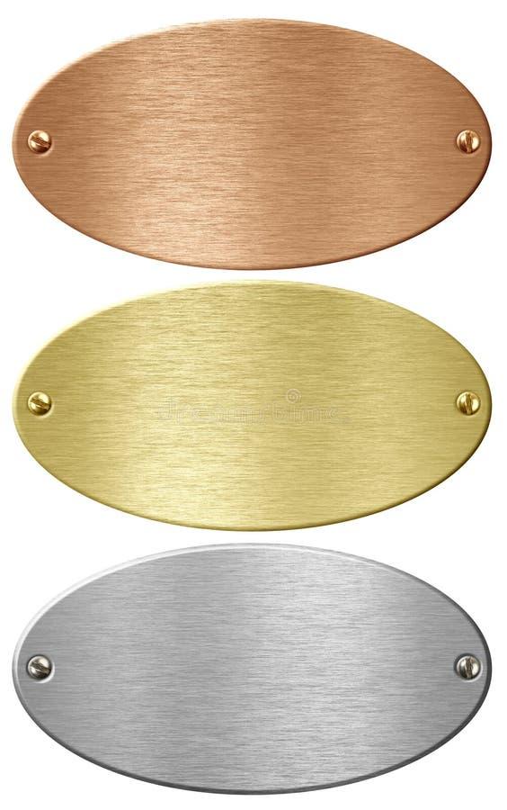L'argento, l'oro ed il bronzo metal le zolle di ellisse isolate immagini stock libere da diritti
