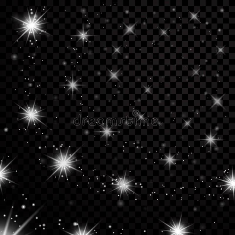 L'argento stars il cielo notturno nero su fondo trasparente Scintillio leggero astratto Scintille di fantasia Natale di lustro illustrazione vettoriale