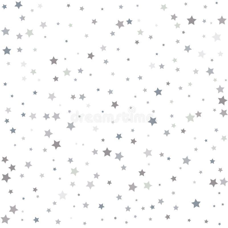 L'argento stars il fondo, coriandoli scintillanti delle luci di natale fal illustrazione di stock