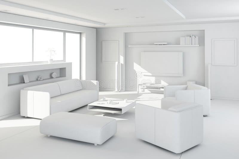 l'argile 3d rendent d'un intérieur moderne illustration stock