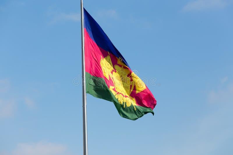 L'argomento della bandiera di Federazione Russa - regione di Krasnodar, K fotografia stock libera da diritti
