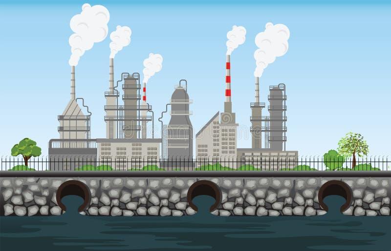 L'aria e l'acqua residue sporche del tubo della pianta di inquinamento della natura hanno inquinato la e royalty illustrazione gratis