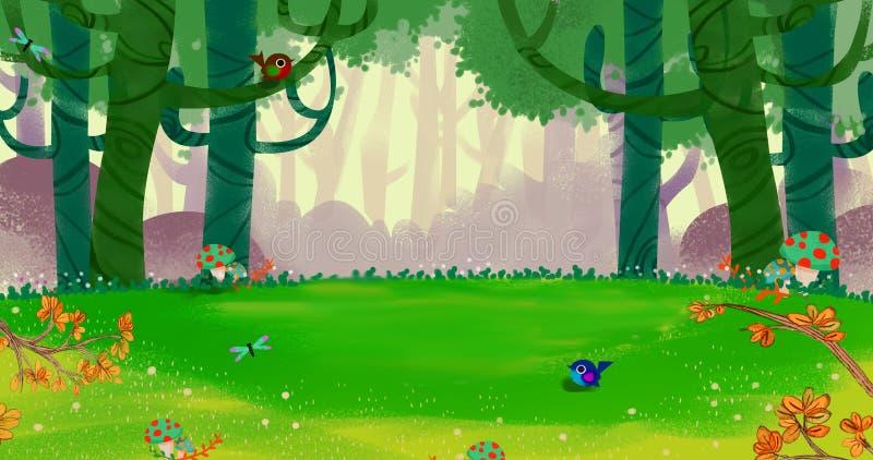 L'aria felice fresca della primavera nella piccola foresta illustrazione vettoriale