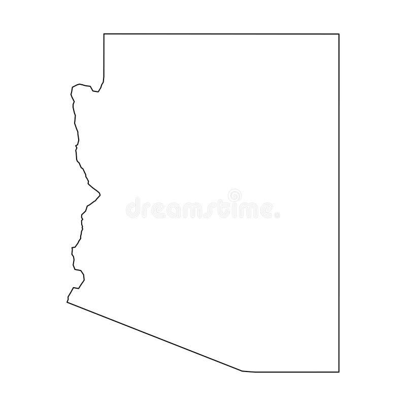 L'Arizona, état des Etats-Unis - carte noire solide d'ensemble de secteur de pays Illustration plate simple de vecteur illustration stock