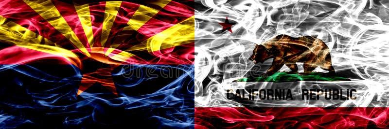 L'Arizona contre les drapeaux colorés de fumée de concept de la Californie placés côte à côte illustration de vecteur