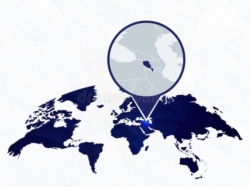L'Arménie a détaillé la carte a accentué sur la carte arrondie bleue du monde illustration stock