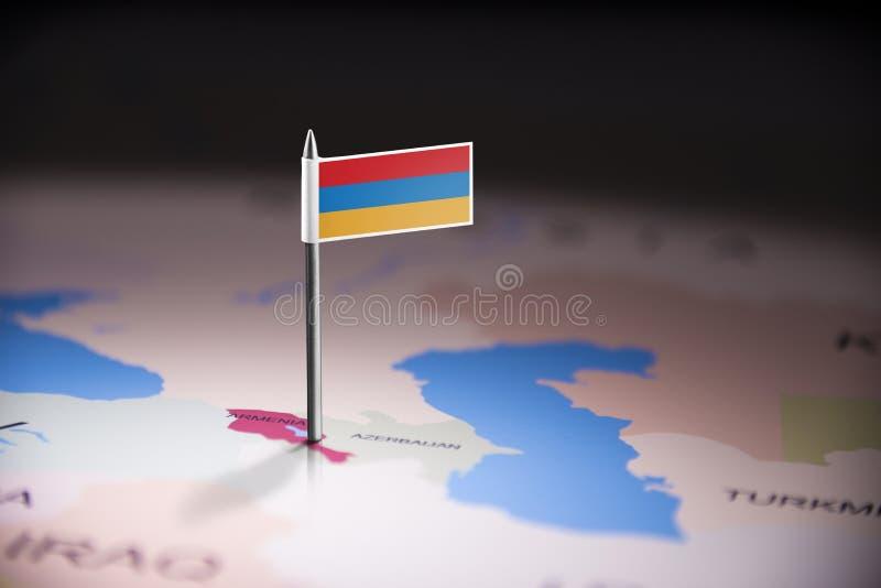 L'Arménie a identifié par un drapeau sur la carte images libres de droits