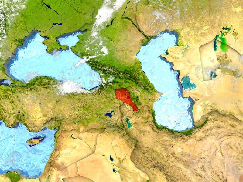 L'Arménie sur la carte avec des nuages illustration libre de droits