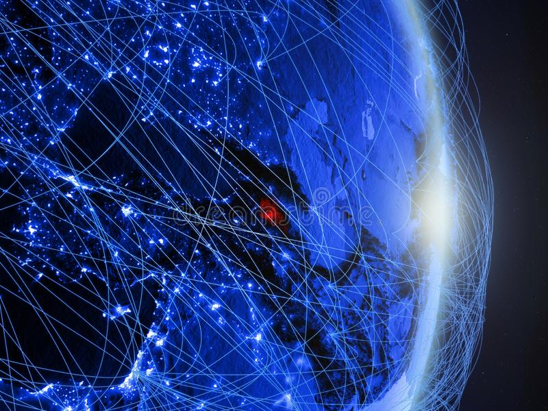 L'Arménie sur la terre numérique bleue bleue image stock
