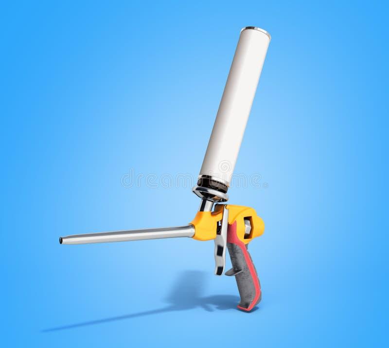 L'arme à feu de mousse sur le fond bleu 3d de gradient rendent illustration de vecteur