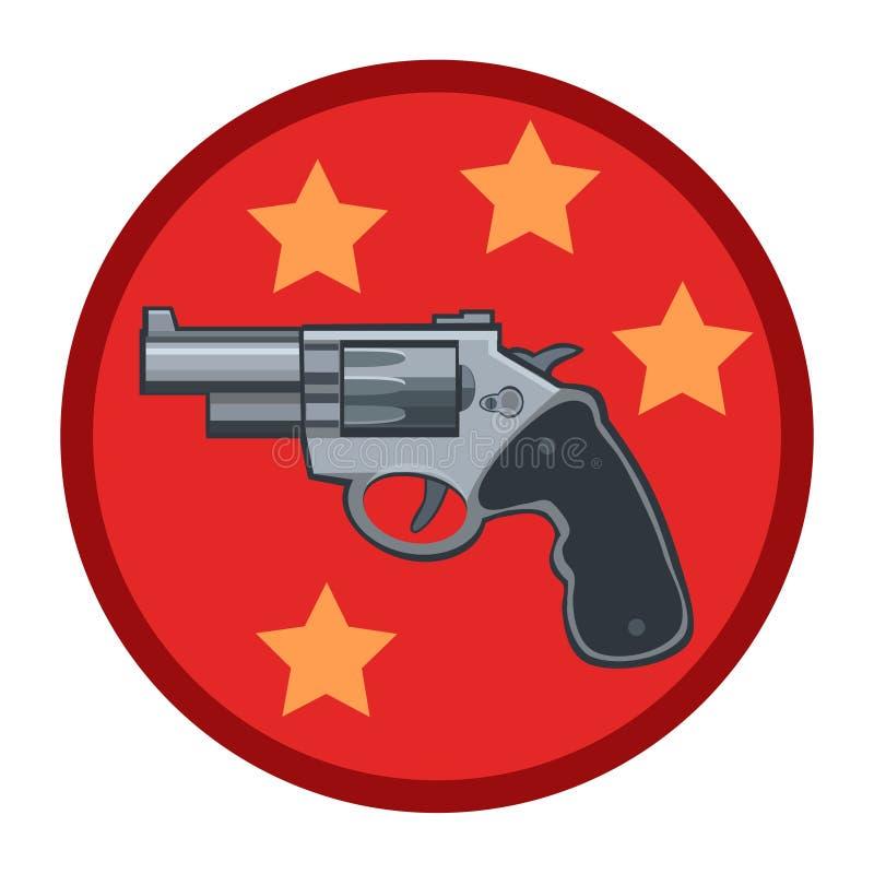 L'arme à feu est un revolver avec un à cylindre rotatif illustration stock