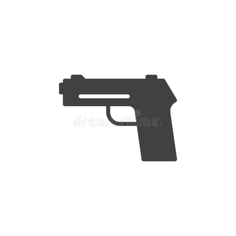 L'arme à feu, pistolet, vecteur d'icône de pistolet, a rempli signe plat, pictogramme solide d'isolement sur le blanc illustration de vecteur