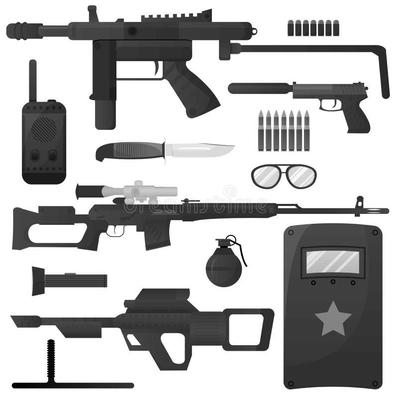 L'arme militaire, forces spéciales d'armée arme des icônes de vecteur de munitions illustration libre de droits