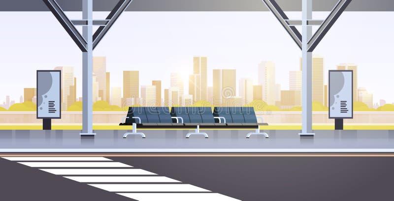 L'arrêt d'autobus moderne ne vident aucun appartement de fond de paysage urbain de station de transport en commun d'aéroport de p illustration stock