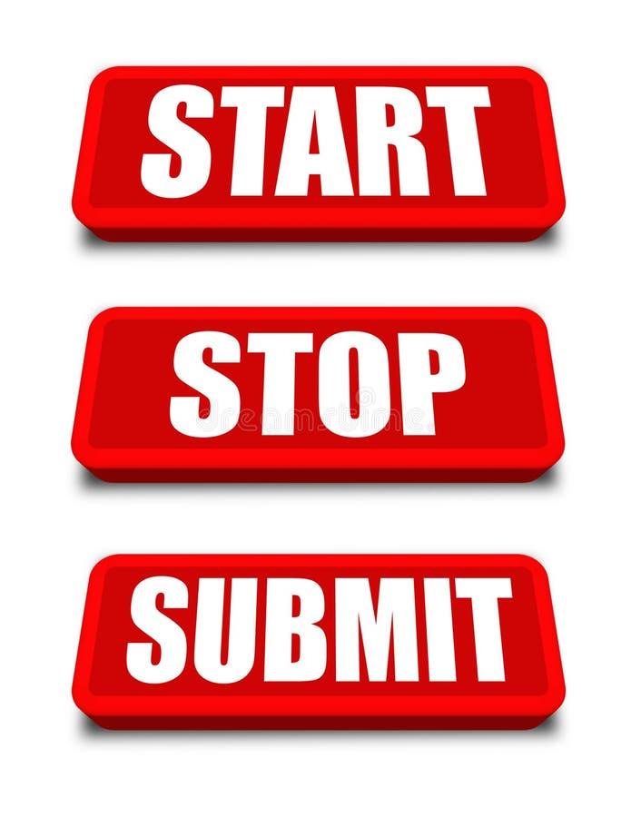 L'arrêt de début soumettent le bouton illustration libre de droits