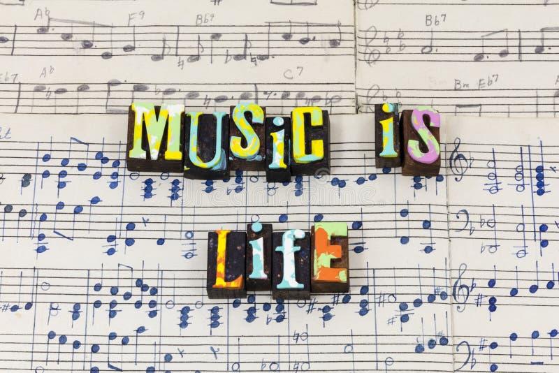 L'arrêt de la vie de musique écoutent monde de la terre croient la police de typographie de voix photographie stock