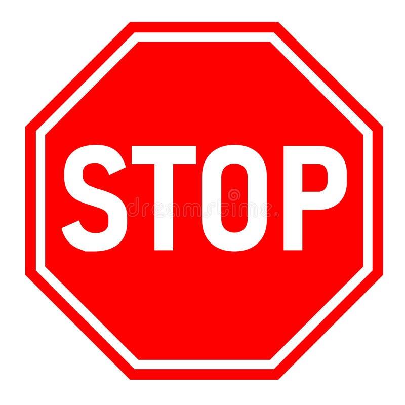 L'arrêt rouge se connectent le fond blanc Style plat Signe rouge d'arrêt illustration de vecteur