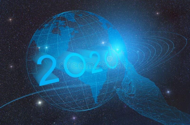 L'arrivo di nuovo anno tecnologico 2020 sul pianeta Terra nello spazio cosmico, rappresentazione concettuale di pressatura del bo royalty illustrazione gratis