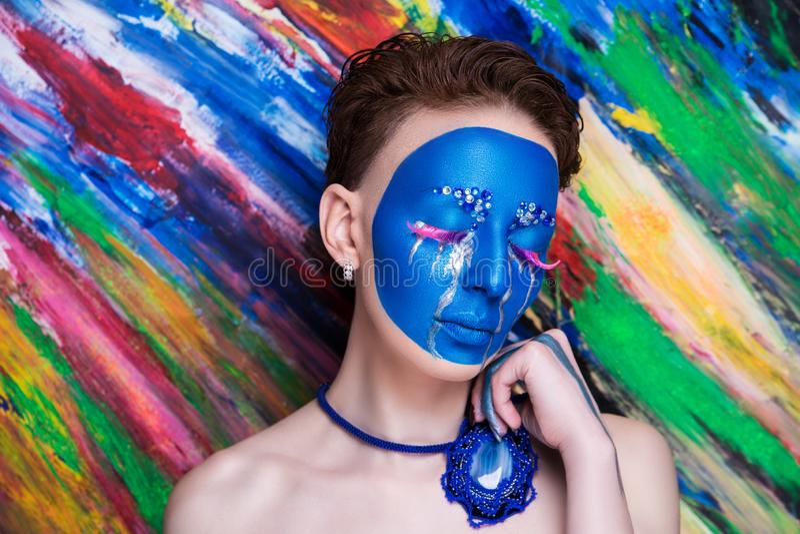L'art bleu de femme composent photos stock
