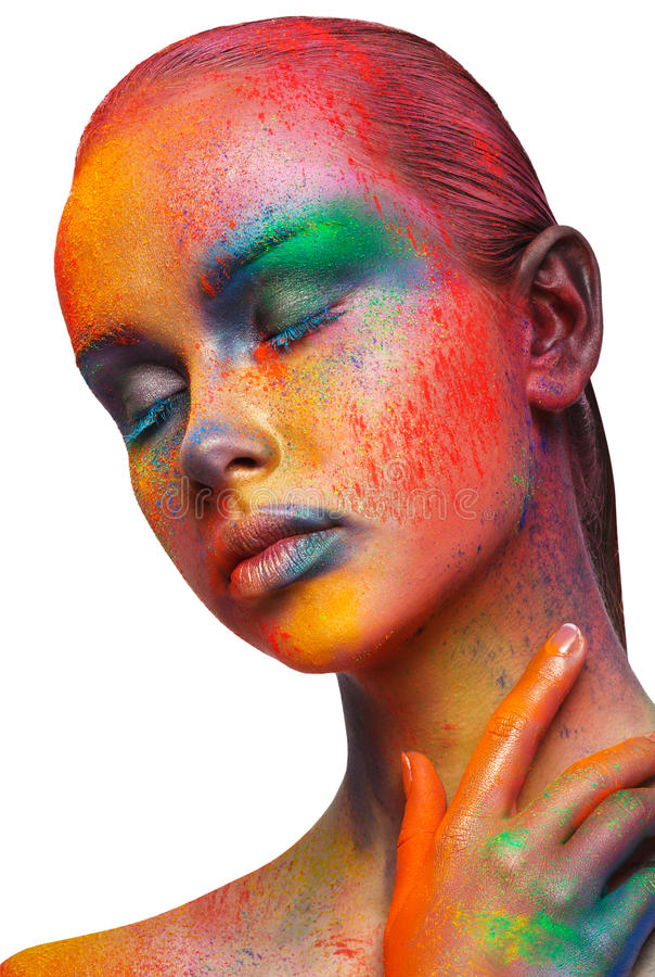 L'art créatif de composent, portrait de plan rapproché de mannequin photographie stock libre de droits