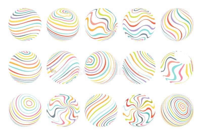 L'art débordant de sphères de vagues de résumé conçoivent l'illustration de vecteur de calibre illustration libre de droits