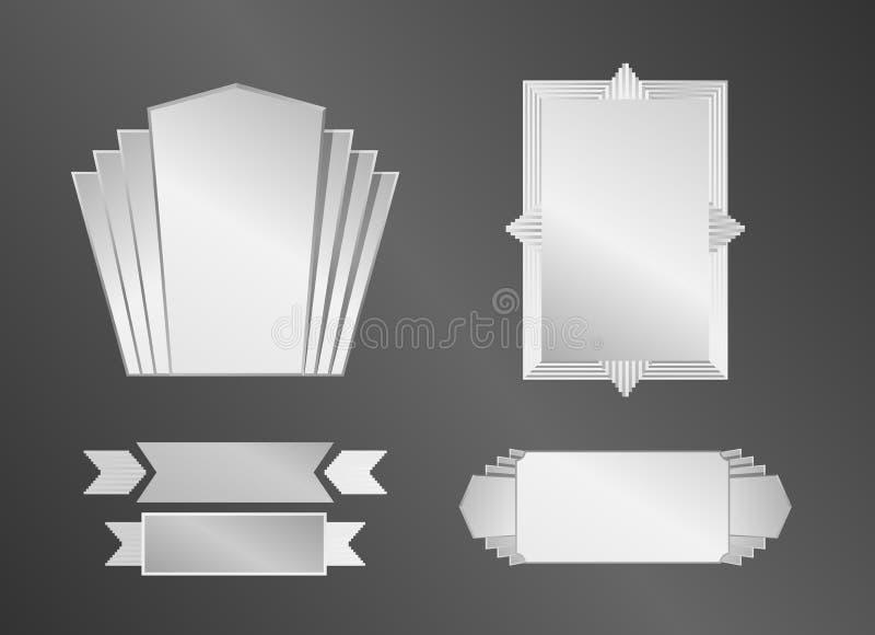 L'art déco objecte (cadre, rubans et bannières) photo stock