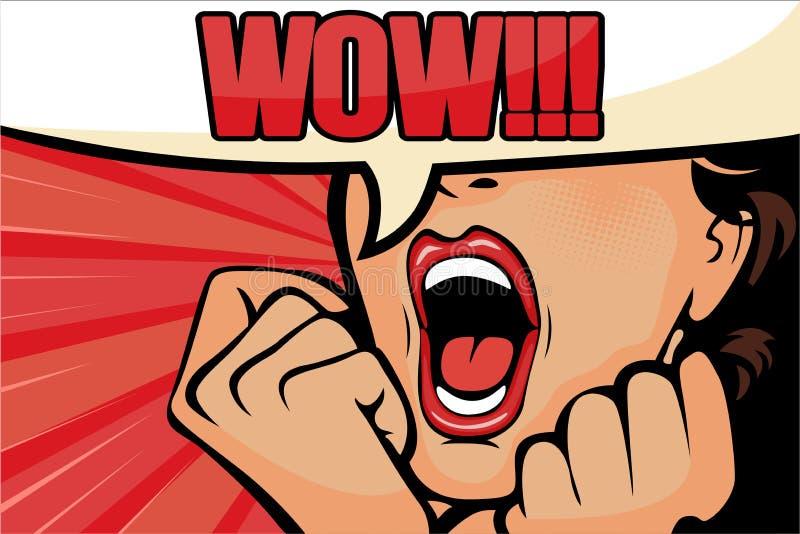 L'art de bruit a ?tonn? le visage de femme de brune avec la bouche ouverte Femme comique avec la bulle de la parole illustration libre de droits