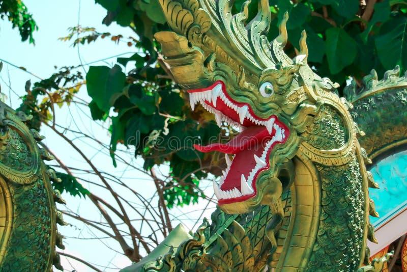 L'art de la culture thaïlandaise, stuc, Naga vert décoré par le roo image libre de droits