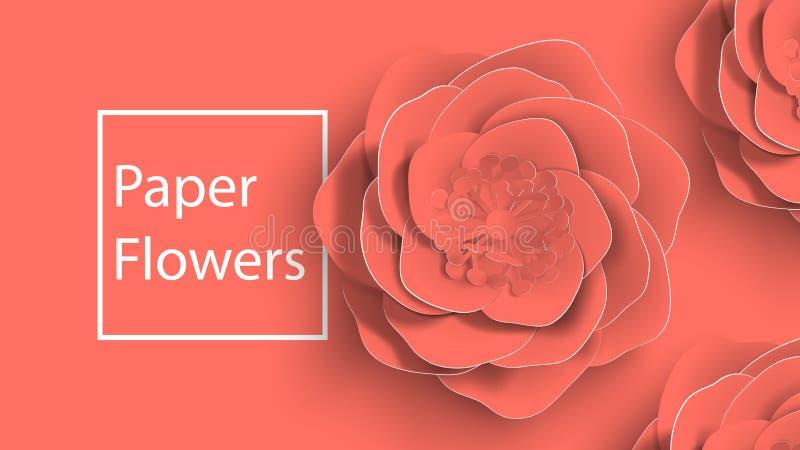 L'art de papier, été a monté des fleurs sur une coupe de corail vivante de fond de couleur de papier Illustration courante de vec illustration de vecteur