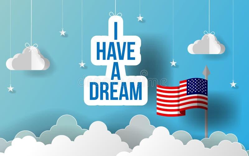 L'art de papier j'ai une devise rêveuse de slogan Art heureux de papier de Martin Luther King Day Drapeau américain accrochant av illustration stock