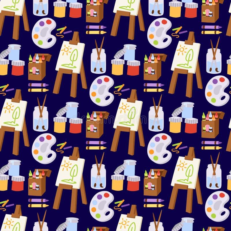 L'art de peinture usine l'instrument créatif d'artiste de créativité d'équipement de peinture de papeterie de détails d'illustrat illustration stock