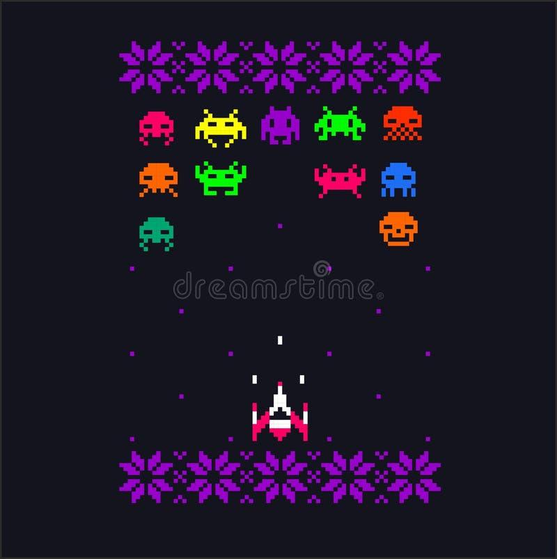 L'art de pixel d'étrangers et de vaisseau spatial d'espace de bit du jeu vidéo 8 avec la broderie fleurit des éléments Rétro conc illustration de vecteur