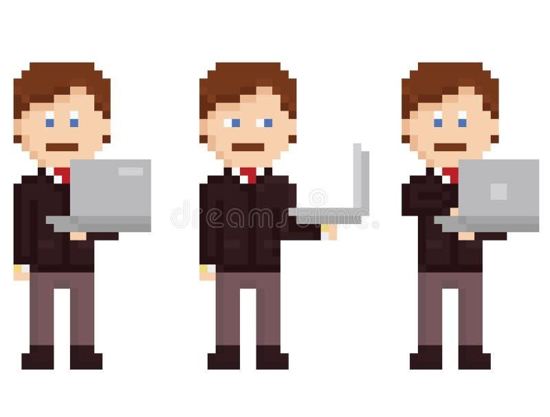 L'art de pixel de vecteur a placé - la personne tenant l'ordinateur portable illustration de vecteur