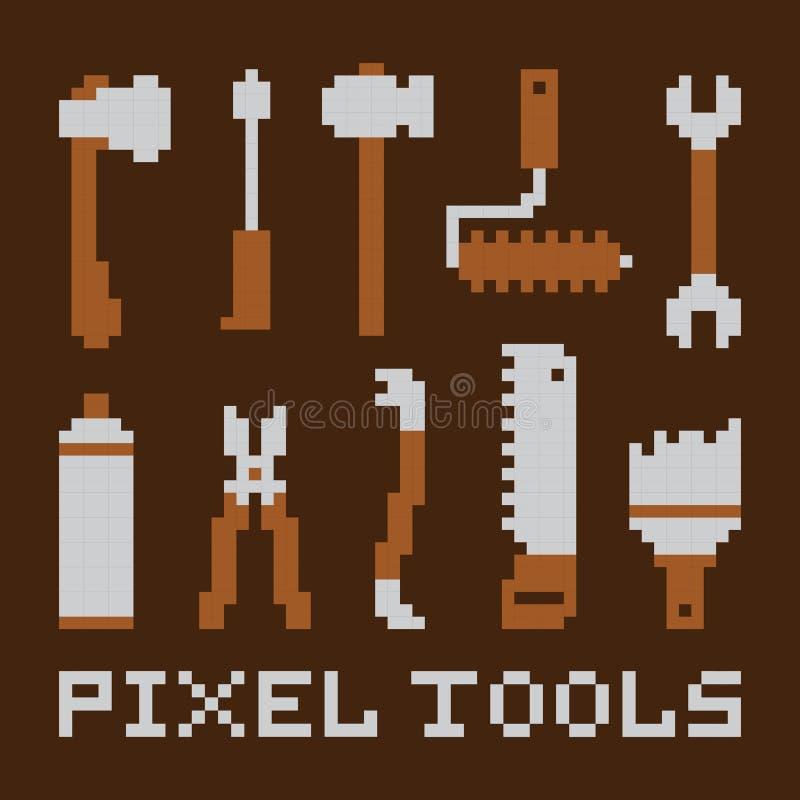 L'art de pixel a isolé l'ensemble de vecteur d'outils illustration stock