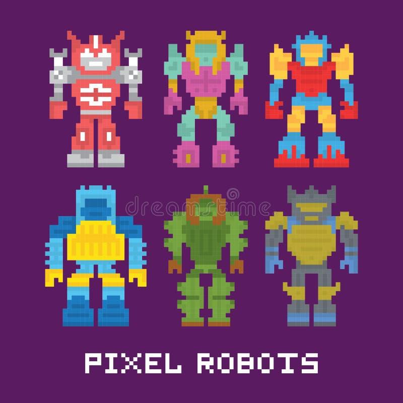 L'art de pixel a isolé l'ensemble de vecteur de robots illustration libre de droits