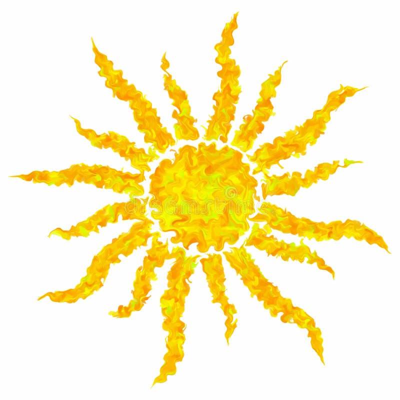 L'art dessinant le soleil grunge coloré a isolé le fond abstrait illustration de vecteur