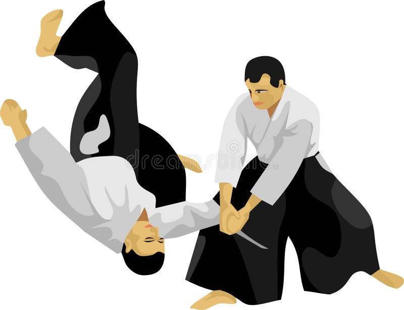 L'art martial de Japonais d'Aikido illustration de vecteur