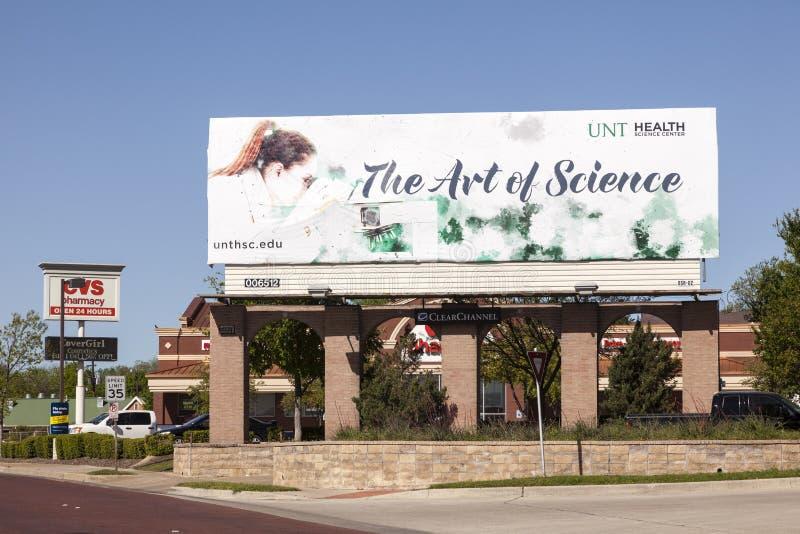 L'arte del tabellone per le affissioni di scienza a Fort Worth, TX, U.S.A. fotografie stock