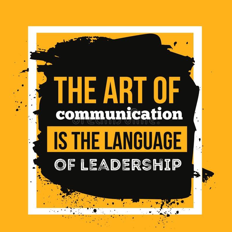 L'arte della comunicazione è la lingua della direzione Manifesto motivazionale di citazione per la parete illustrazione di stock