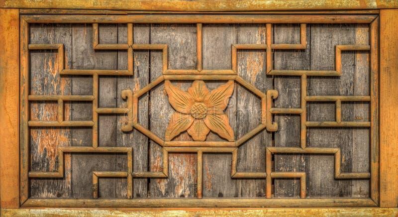 L'arte della parete di legno cinese fotografie stock libere da diritti