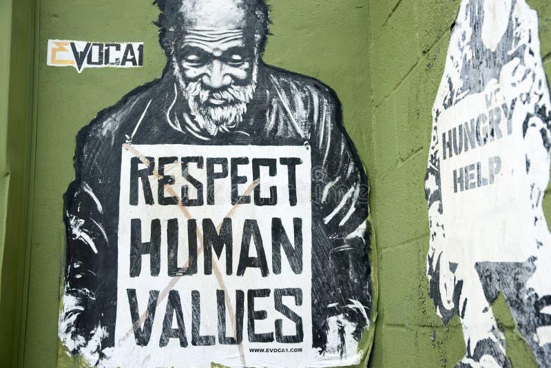 L'arte della via dei valori dell'essere umano di rispetto supplica fotografia stock libera da diritti