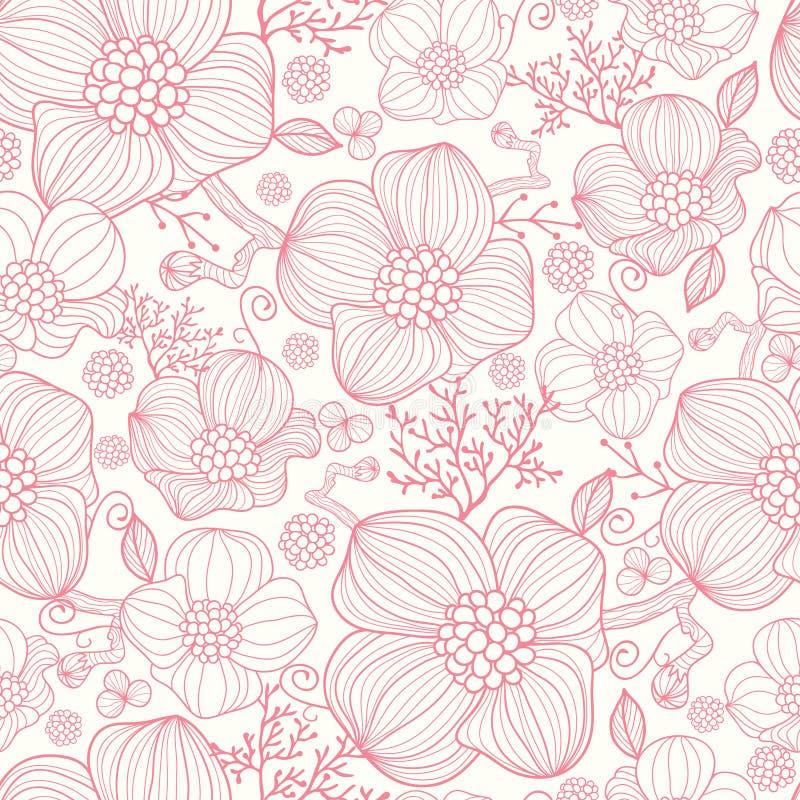 L'arte di linea rossa fiorisce il fondo senza cuciture del modello royalty illustrazione gratis