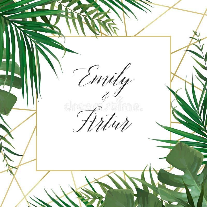 L'arte di vettore di nozze floreale invita la progettazione di carta dell'invito con wat illustrazione di stock