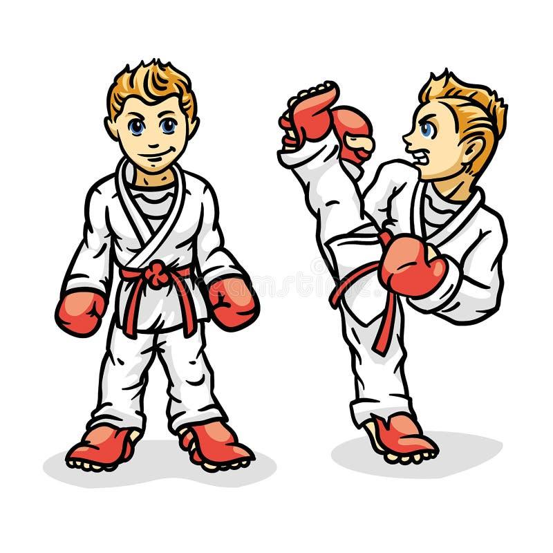 L'arte marziale ha colorato il simbol, logo Emblema creativo di progettazione di karatè Karate Kid illustrazione vettoriale