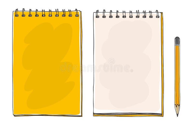 L'arte sveglia disegnata a mano gialla della matita e del taccuino vector il illustrati royalty illustrazione gratis